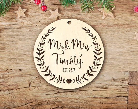 personalized gift Real Wood Mr Mrs Christmas Ornament Married First Christmas Wedding Ornament Personalized Christmas Ornaments 7