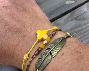Yellow and bronze cuff