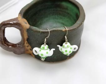 Teapot Earrings, Tea Earrings, Tea Party Earrings, Tea Dangle Earrings, Teapots, Tea Time, White Ceramic Earrings, Polka Dots, Green