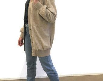 TRUSSARDI giacca camoscio pelle oversize, Trussardi vintage giacca camoscio over, giacca camoscio anni 90, Trussardi vintage giacca pelle