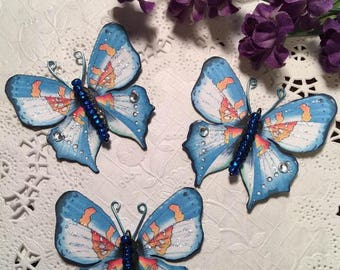 Sail Away Colbalt Blue Glass Bodied Butterflies DarlingArtByValeri Butterfly Scrapbooking Embellishments Mini Album Card Making Wedding Gift