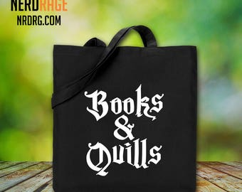 Harry Potter Cotton Canvas Tote Bag - Books and Quills Canvas Tote Bag - Harry Potter Inspired Field Bag