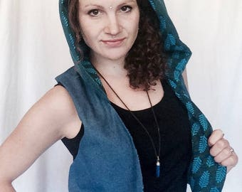 Funky blue reversible waistcoat with hood/Festival wear/Floral pattern/ Fresh/Boho style