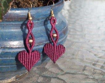 Valentine's day earrings - heart earrings, dangle earrings, heart jewelry, love gift, valentine's gift!!