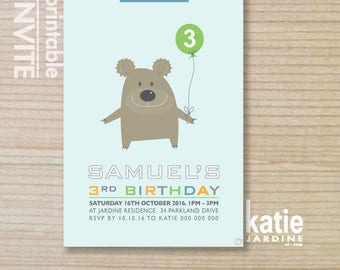 kids invitation  - printable invitation - bear invitation - bear party - boys invite - teddy bear - blue - green - white