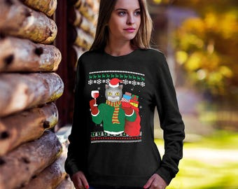 Cat Ugly Christmas Sweater,Funny Christmas sweater, Ugly xmas Cat, Christmas tee, ugly sweater party, Cat mom, crazy cat lady