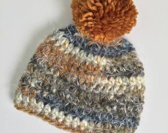 Bronze Pompom Beanie, Ready to Ship, Crochet Hat Baby, Baby Boy Hat, Boy Hat, Baby Pompom Hat, Boy Pompom Hat, Crochet Beanie, Winter Beanie