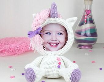 Crochet Pattern of Photo Frame UNICORN (Tutorial PDF file)