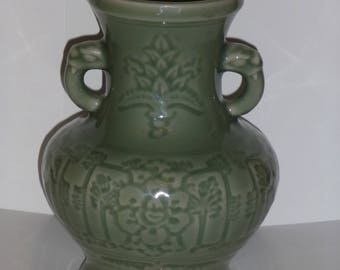 "Japanese Celadon 8"" Vase with Serpent Handles"