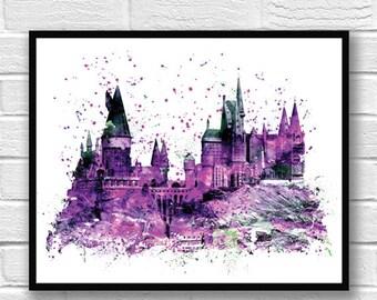 Hogwarts Castle Watercolor Print, Harry Potter Art, Movie Poster, Always, Home Decor, Wall Art, Kids Room Decor, Nursery Art - 746-3