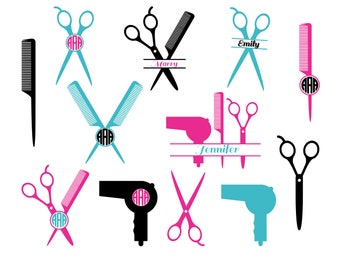 Hairdresser SVG Cut Files, Hairstylist SVG, Hairdresser Monogram SVG, Hairdresser Scissors Svg, Dxf, Svg, Silhouette Svg, Commercial Use.