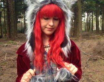 Grey Wolf Hood, Animal Spirit Costume, Faux Fur