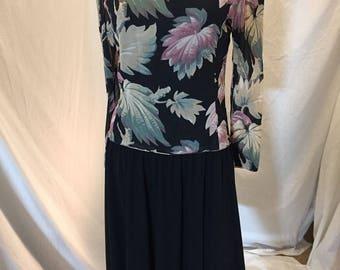 Vintage Ricki Lang for Nuit Floral Long Sleeve Dress with Open Back Black Skirt