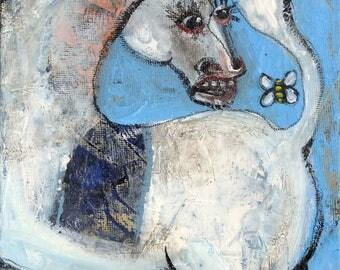 Whimsical art, original art, unicorn art, whimsical animal art, unicorn gift, one of a kind, original painting, oil painting, small painting