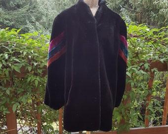 Black Faux Fur Disco Glam Plush Coat Size Large