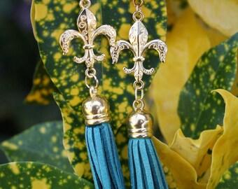 Fleur De Lis Earrings-Foam Tassel Earrings- Terylene Earrings- Dangle Earrings- (4 colors), Valentine's Day Gifts