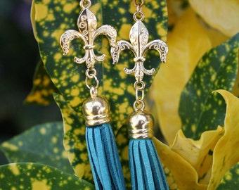 Fleur De Lis Earrings-Foam Tassel Earrings- Terylene Earrings- Dangle Earrings- (3 colors), Mother's Day Gift, Easter Gift