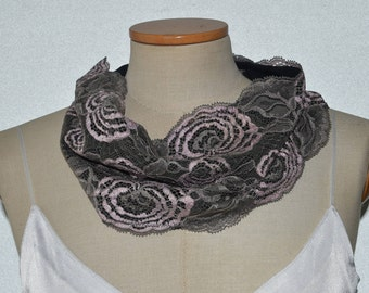 Lace Snood winter, warm neck snood lace winter, gray, pink lace lined hot nood warm jersey snood Calais lace
