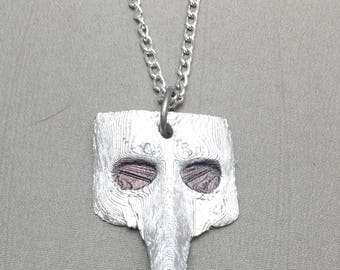 50% off! Plague Doctor Necklace silver with black eyes,Plague Doctor Masks,steampunk, goth, cosplay, plague Doctor, 3D printed, roleplaying,