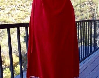 GUATMALAN DRESS/ Vintage RED Bohemian Holiday Dress/ Mexican Vintage Dress/ 70s Dress/ Gypsy Dress/ Handwoven Dress/ Ethnic Statement Dress