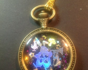 Sparkling UV Resin white rabbit pocket watch bezel setting pendant