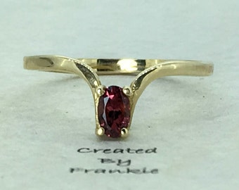 Garnet  Ring set in 14k yellow gold (5x3 mm) # 1723   Created By Frankie