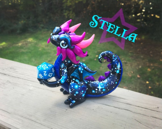 Polymer Clay Dice Holder Dragon- Purple, Blue, Fuchsia, and Pink Dragonling: Stella