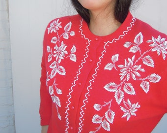 Vtg 50's Coral Floral Print Glass Beaded Cardigan Sweater Large 1950's Pin Up Rockabilly