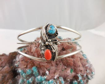 Native American Turquoise and Coral Sterling Cuff Bracelet
