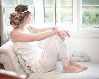 Luxury beautifl loungewear handmade in England. Chantilly lace and luxury silk ivory colour pyjama trousers