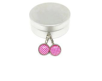Sleepers polka-dot - stem black stainless steel - glass 8 mm - earring white rose - - hypoallergenic