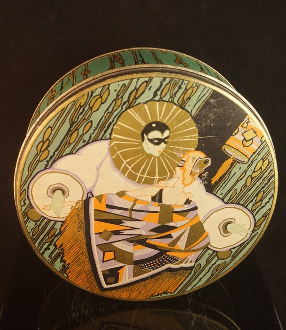 Art Deco Harlequin Pierrot bisquit candy tin -  European Deco collectible and very rare cookie tin - Masquerade man and woman in love
