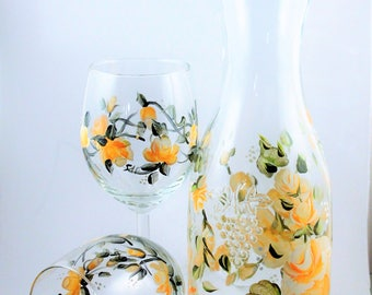 hand painted yellow roses Wine Carafe Decanter