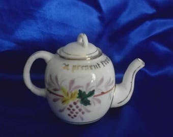Victorian Souvenir Tea Pot 'A Present from North Wales' with Gilding