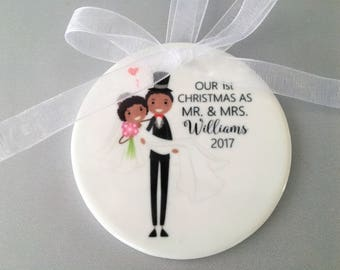 Our First Christmas Ornament, Wedding Ornament, Wedding Ornaments, Wedding Gift, Bride and Groom Ornament, Bride and Groom, Mr and Mrs