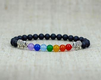 7 chakra bracelet men mala bracelet women gift mom Meditation bracelet Spiritual jewelry Protection bracelet Yoga bracelet Elephant bracelet