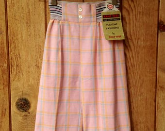 1970's Children's Toddler Plaid Pants / Wide Leg Bell Bottom / High Waist / Pink with Light Blue / Size 4