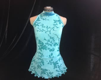 Blue and Green Ice Figure Skating Competition Dress Girls SMALL, MEDIUM, LARGE and Adult Small 4 - 6