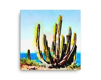 Canvas Art Print, Multiple Sizes, Watercolor Art, Watercolor Print, Landscape Art, Cactus, Wall Art, Home Decor