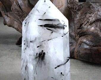 """5""""x 2.5"""" Powerful Black tourmaline in Quartz  - powerful protection stone"""
