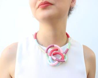 Multicolor Strand Statement Necklace Bracelet Textile knot necklace statement Multistrand Wrap Necklace Bracelet Textile Chunky Bracelet