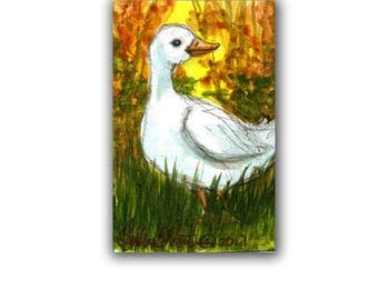 Little Happy Duck Autumn LLMartin Original ACEO  Watercolor Free Shipping USA Baby Nursery New Mom Toddler Child