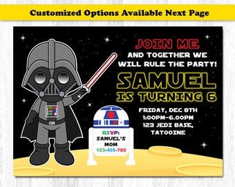 Star Wars Invitation, Darth Vader Birthday Invitation, Darth Vader Invitation, Star Wars Invite
