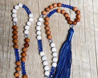 Blue Crystal & Sandalwood Boho Hand Knotted Tassel Necklace