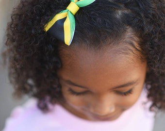 Jamaican Headband - Jamaican Hair Products - Hair Bows For Toddlers - Jamaica - Hair Bow For Ponytails - Island Girl - Hair Bow For Girls