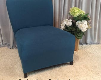 Slipcover Teal Suede Chair Cover for Armless Chair, Slipper Chair, Armless Accent Chair, Parsons Chair, Side Chair, Many Colors!