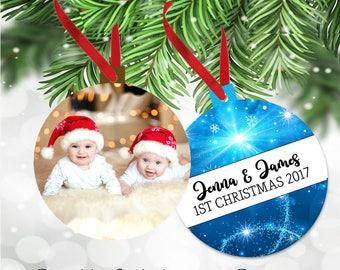 Personalized Custom Christmas Photo Keepsake Aluminum Ornament  - Double Sided - Aluminum