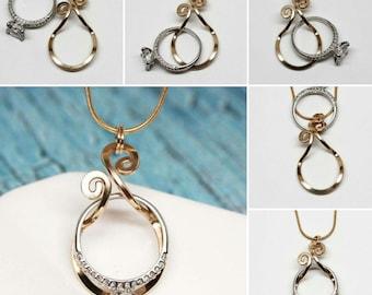 Magic Ring Holder Necklace , Wedding/Engagement Ring Holder Pendant