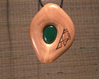 Rune pendant. Jade gemstone. Viking style necklace. Pagan gift pendant. Spiritual jewelry. Shaman amulet. Nordic rune talisman. Wood pendant