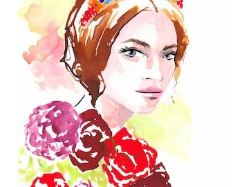 Dolce & Gabbana  Fall 2017 Art Print Fashion Illustration, Fashion Sketch, Fashion Art, Watercolour Illustration